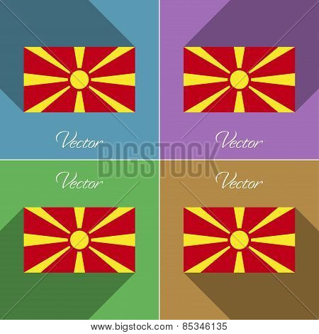 Flags Macedonia. Set Of Colors Flat Design And Long Shadows. Vector