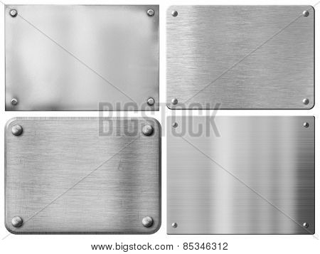 steel metal plates or sign boards set with rivets isolated