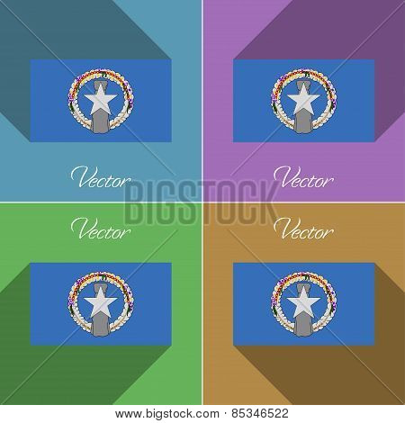 Flags Marianna Islands. Set Of Colors Flat Design And Long Shadows. Vector