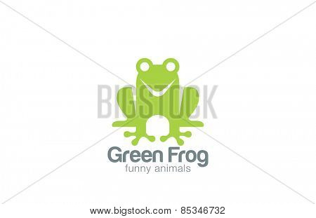 Green Frog Silhouette Logo design, vector template.