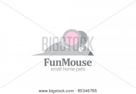 Abstract Funny Mouse Logo design vector template. Cartoon rat logotype icon.