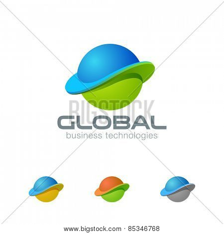 Global Planet Abstract Sphere Logo design template. Business Worldwide Web Media Network Logotype concept circle icon. E-commerce internet technology emblem?