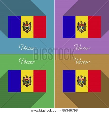 Flags Moldova. Set Of Colors Flat Design And Long Shadows. Vector