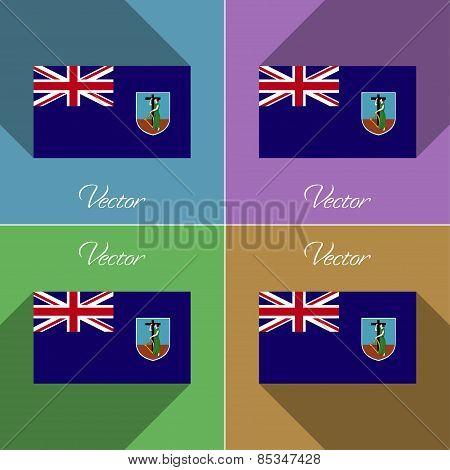 Flags Montserrat. Set Of Colors Flat Design And Long Shadows. Vector