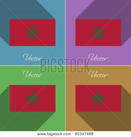 Flags Morocco. Set Of Colors Flat Design And Long Shadows. Vector