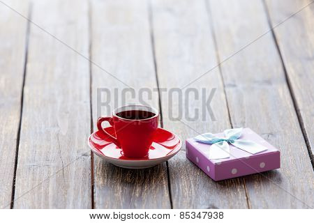 Cup Of Coffee And Gift Box
