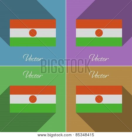 Flags Niger. Set Of Colors Flat Design And Long Shadows. Vector