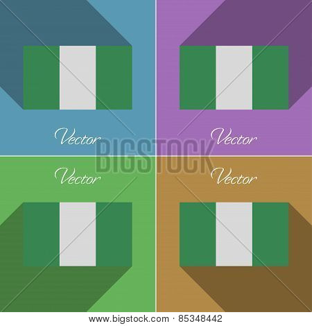 Flags Nigeria. Set Of Colors Flat Design And Long Shadows. Vector