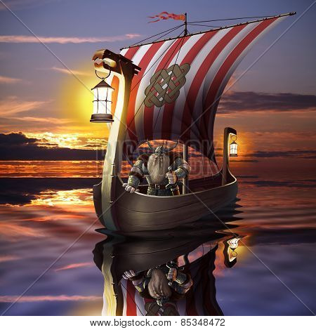 Viking boat in the sea