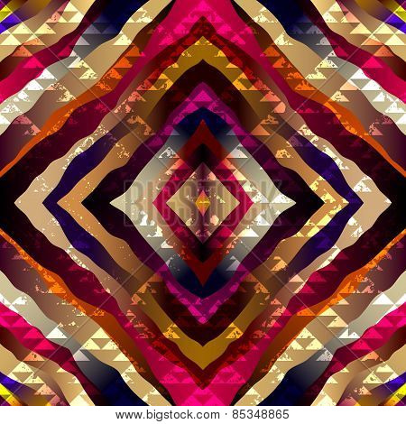 Exotic symmetric pattern with grunge triangles elements.