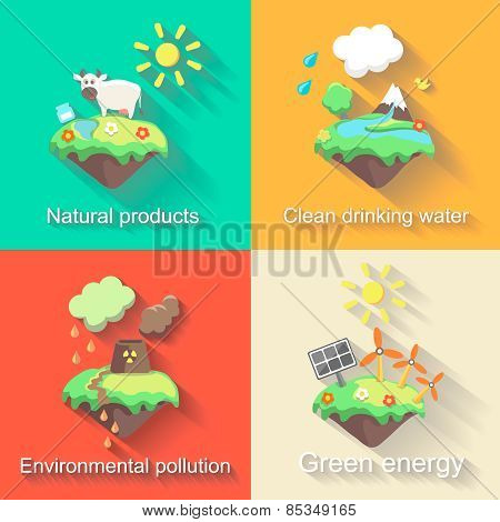 Set of  flat design concept illustrations with icons  ecology, environment, green energy and polluti