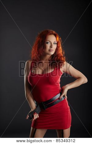 Image of sensual woman with bright red hair