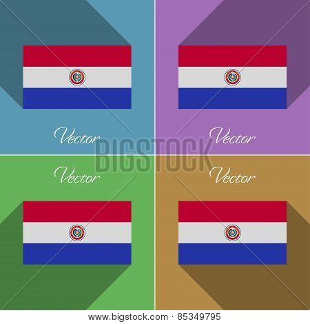 Flags Paraguay. Set Of Colors Flat Design And Long Shadows. Vector