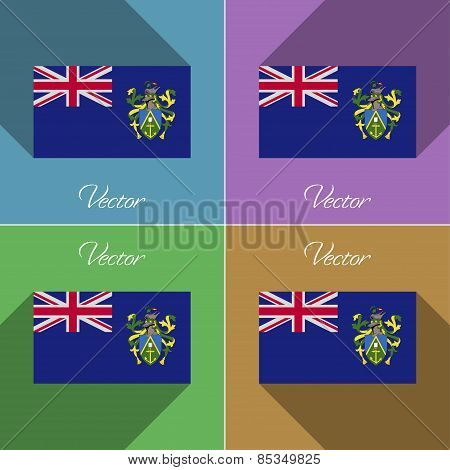Flags Pitcairn Islands. Set Of Colors Flat Design And Long Shadows. Vector
