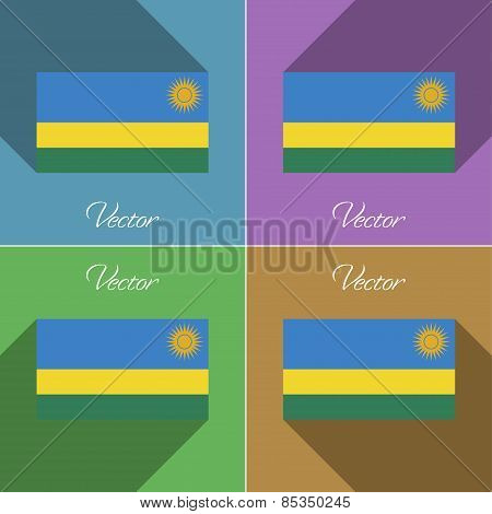 Flags Rwanda. Set Of Colors Flat Design And Long Shadows. Vector