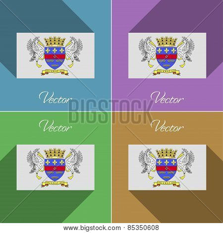 Flags Saint Barthelemy. Set Of Colors Flat Design And Long Shadows. Vector