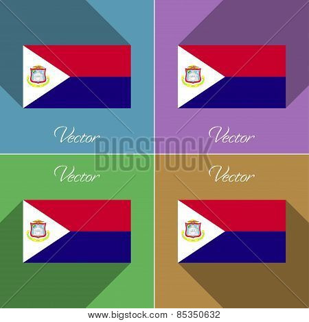 Flags Saint Martin. Set Of Colors Flat Design And Long Shadows. Vector
