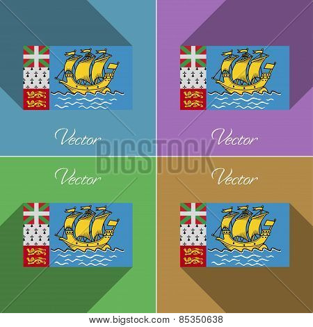 Flags Saint Pierre Miquelon. Set Of Colors Flat Design And Long Shadows. Vector