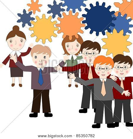Business People Think About Business Development, The Power Of Teamwork