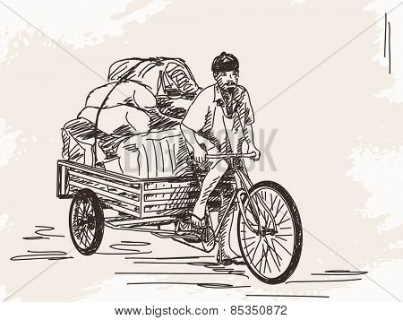 Sketch of cycle rickshaw delivery, Hand drawn Vector illustration