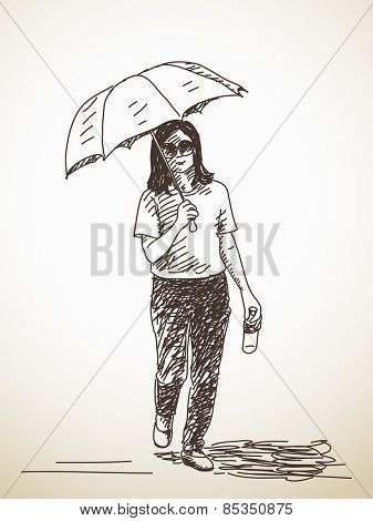 Sketch of woman with umbrella Vector illustration