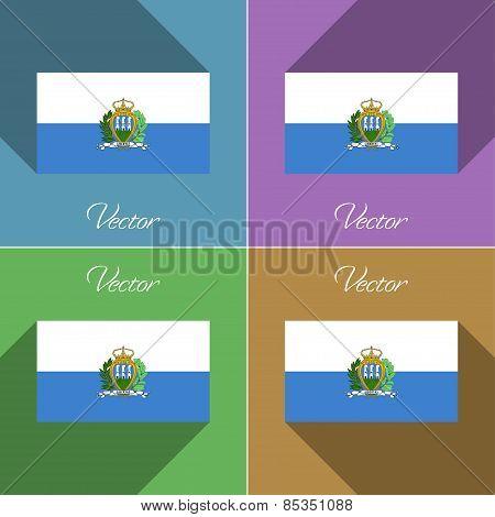 Flags San Marino. Set Of Colors Flat Design And Long Shadows. Vector