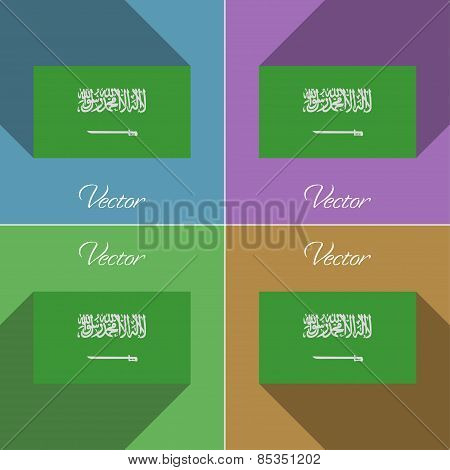 Flags Saudi Arabia. Set Of Colors Flat Design And Long Shadows. Vector