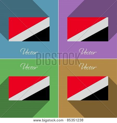 Flags Sealand Principality. Set Of Colors Flat Design And Long Shadows. Vector