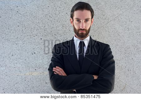 Handsome Young Man In Black Business Suit