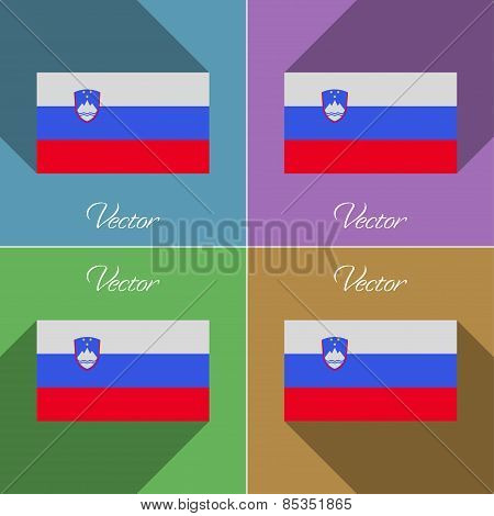 Flags Slovenia. Set Of Colors Flat Design And Long Shadows. Vector