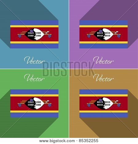 Flags Swaziland. Set Of Colors Flat Design And Long Shadows. Vector