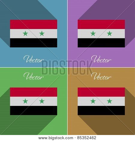 Flags Syria. Set Of Colors Flat Design And Long Shadows. Vector