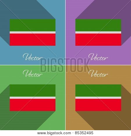 Flags Tatarstan. Set Of Colors Flat Design And Long Shadows. Vector