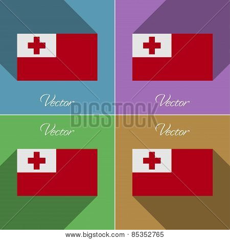 Flags Tonga. Set Of Colors Flat Design And Long Shadows. Vector