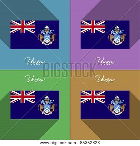 Flags Tristan Da Cunha. Set Of Colors Flat Design And Long Shadows. Vector