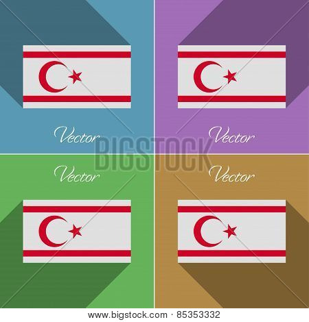 Flags Turkish Northern Cyprus. Set Of Colors Flat Design And Long Shadows. Vector