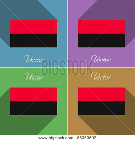 Flags Upa. Set Of Colors Flat Design And Long Shadows. Vector
