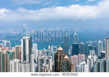 Daytime view of Hong Kong skyline
