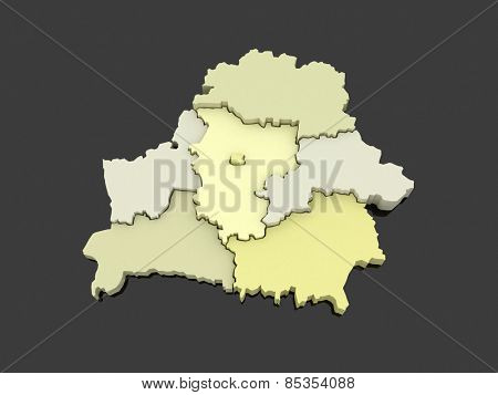 Three-dimensional map of Belarus. 3d
