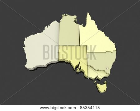 Three-dimensional map of Australia. 3d