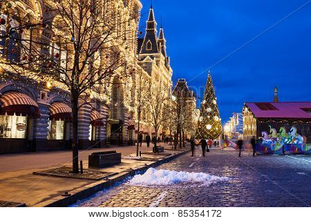 Christmas market in holiday decoration on the Red Square