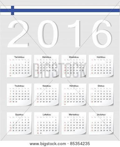 Finnish 2016 Calendar