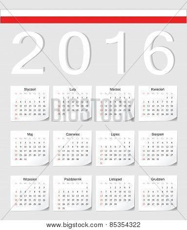 Polish 2016 Calendar