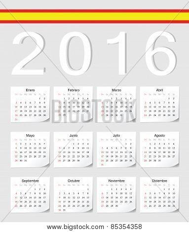 Spanish 2016 Calendar