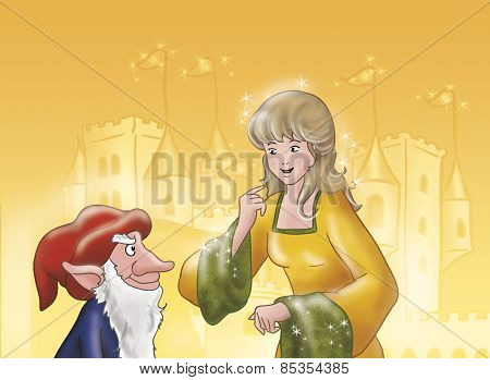 Rumpelstiltskin and princess with castle