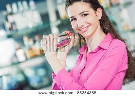 Beautiful Waitress With Cocktail Shaker