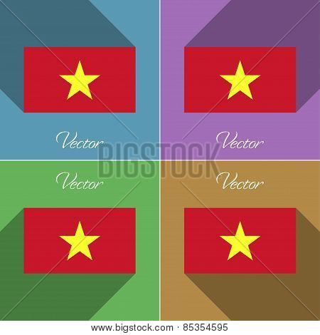 Flags Vietnam. Set Of Colors Flat Design And Long Shadows. Vector