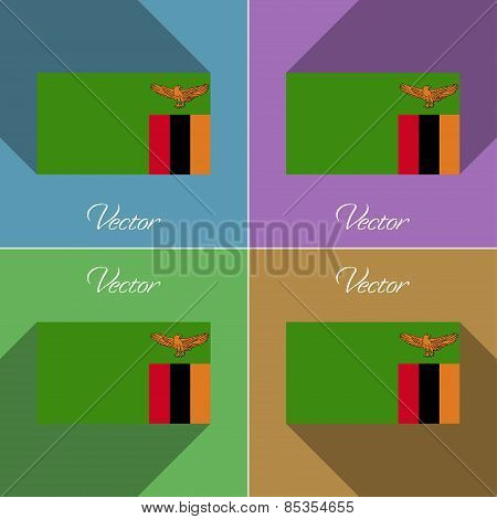 Flags Zambia. Set Of Colors Flat Design And Long Shadows. Vector