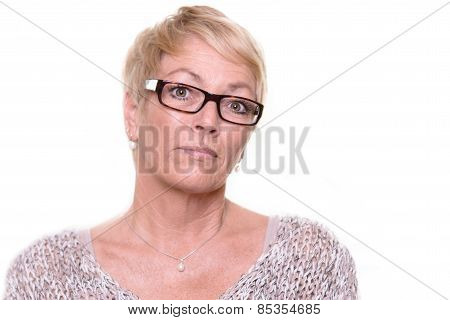 Distrustful Stern Middle-aged Woman