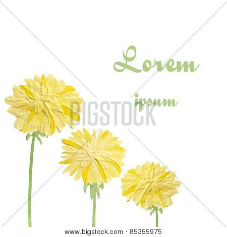 Watercolor dandelions. Abstract flower background